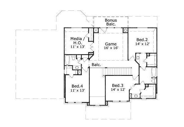 European Floor Plan - Upper Floor Plan Plan #411-782