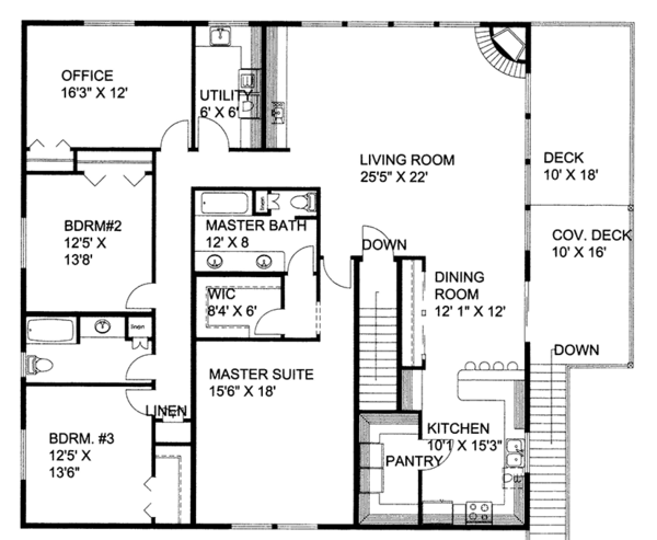 Traditional Floor Plan - Upper Floor Plan Plan #117-867