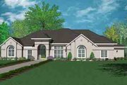 Mediterranean Style House Plan - 4 Beds 3.5 Baths 4345 Sq/Ft Plan #36-454 Exterior - Front Elevation