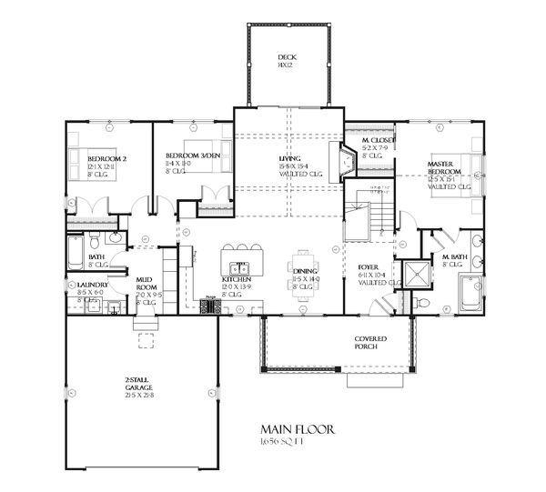 Ranch Floor Plan - Main Floor Plan Plan #901-64