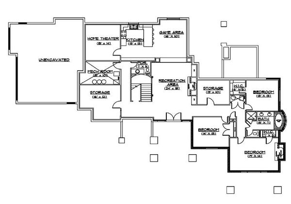Traditional Floor Plan - Lower Floor Plan Plan #5-331