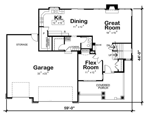 Craftsman Floor Plan - Main Floor Plan Plan #20-2328