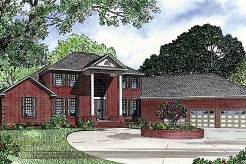 Southern Style House Plan - 5 Beds 3.5 Baths 5050 Sq/Ft Plan #17-629 Exterior - Front Elevation