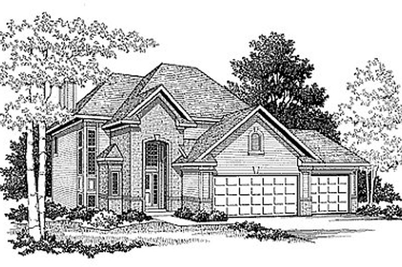 European Style House Plan - 3 Beds 2.5 Baths 1740 Sq/Ft Plan #70-185 Exterior - Front Elevation