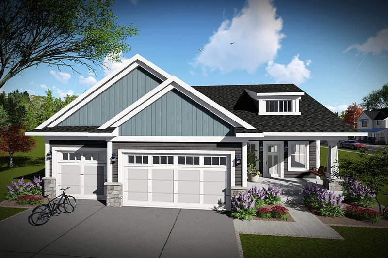 Ranch Exterior - Front Elevation Plan #70-1457