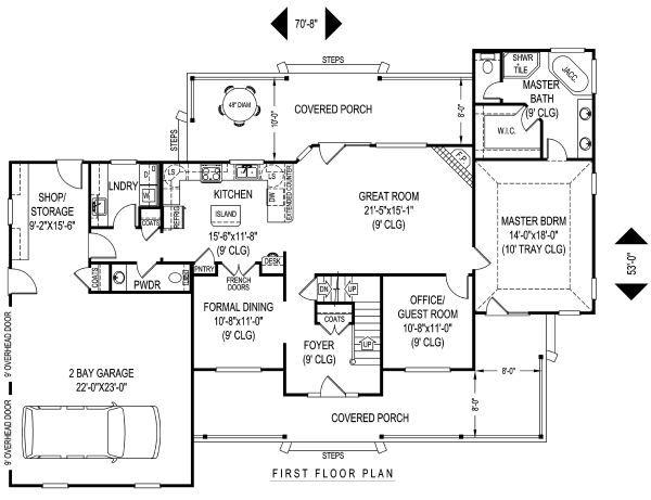 House Plan Design - Country Floor Plan - Main Floor Plan #11-225