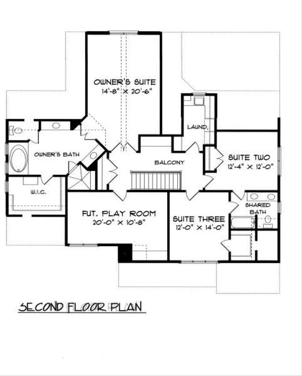Tudor Floor Plan - Upper Floor Plan Plan #413-139