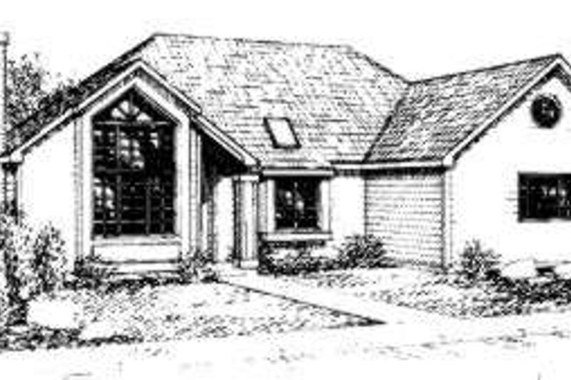 Contemporary Style House Plan - 3 Beds 2 Baths 1715 Sq/Ft Plan #303-103 Exterior - Front Elevation