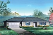 Ranch Style House Plan - 3 Beds 2 Baths 1416 Sq/Ft Plan #57-523 Exterior - Front Elevation