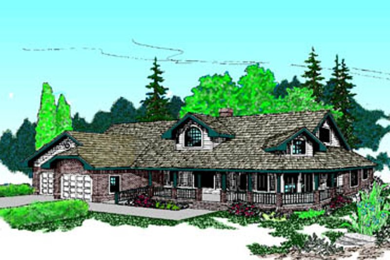 Farmhouse Style House Plan - 6 Beds 3.5 Baths 3198 Sq/Ft Plan #60-185 Exterior - Front Elevation