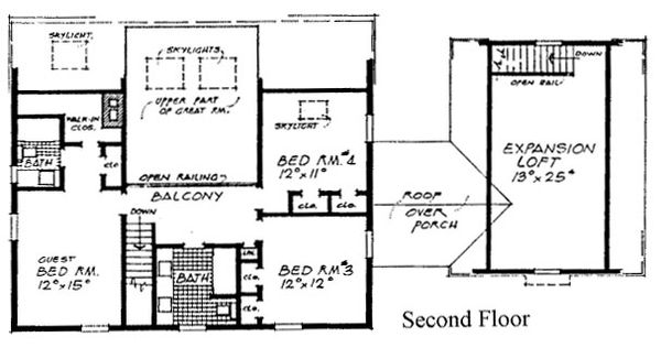 Colonial Floor Plan - Upper Floor Plan Plan #315-109