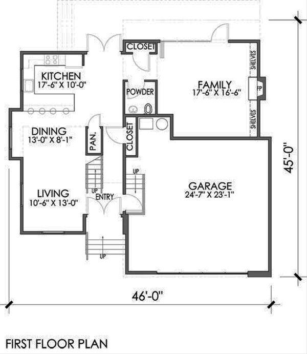Modern Floor Plan - Main Floor Plan Plan #518-4