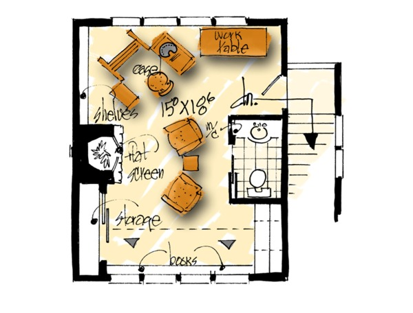 Traditional Floor Plan - Upper Floor Plan Plan #942-53