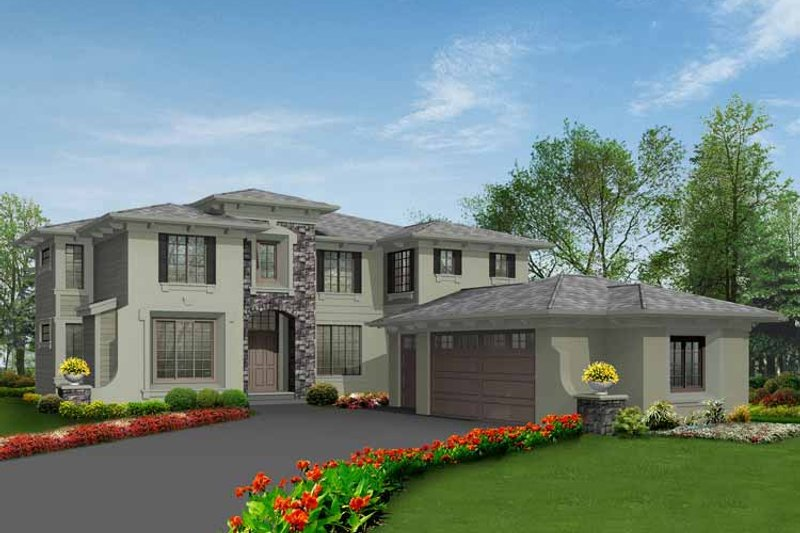 Architectural House Design - Prairie Exterior - Front Elevation Plan #132-443