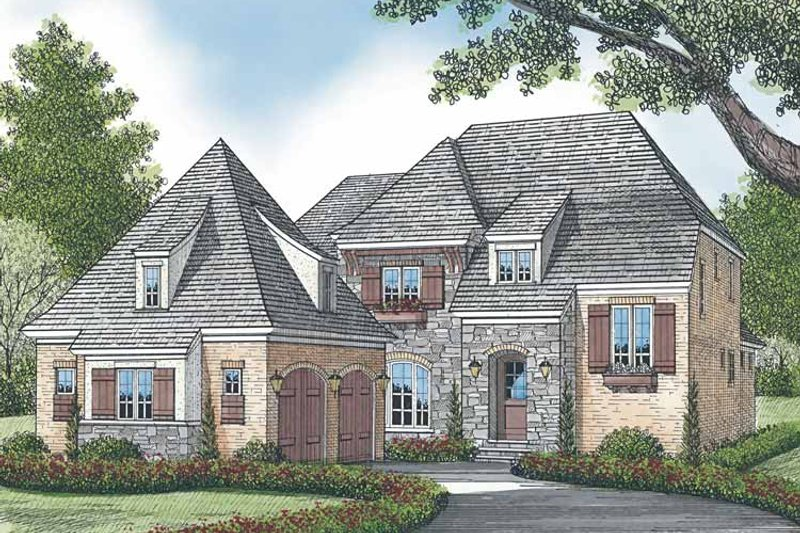 European Exterior - Front Elevation Plan #453-571