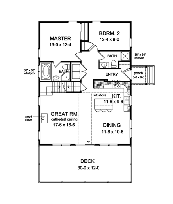 Cabin Floor Plan - Main Floor Plan Plan #1010-148