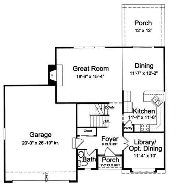 Traditional Floor Plan - Main Floor Plan Plan #46-492