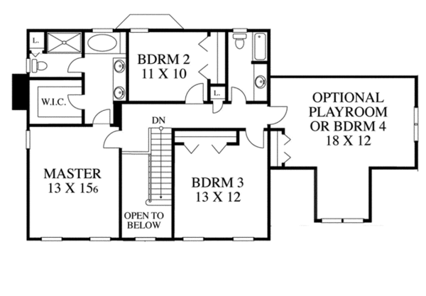 Colonial Floor Plan - Upper Floor Plan Plan #1053-18