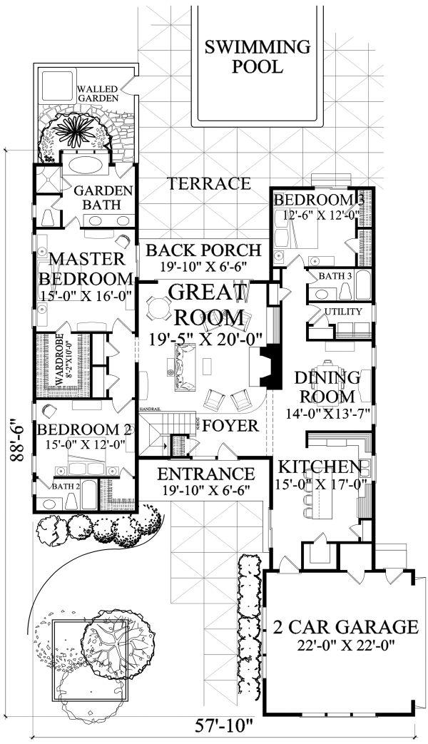 Craftsman Floor Plan - Main Floor Plan Plan #137-377