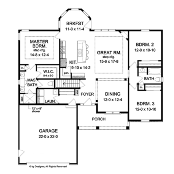 Ranch Floor Plan - Main Floor Plan Plan #1010-42