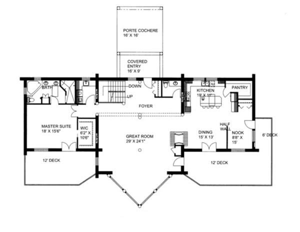 Home Plan - Log Floor Plan - Main Floor Plan #117-823