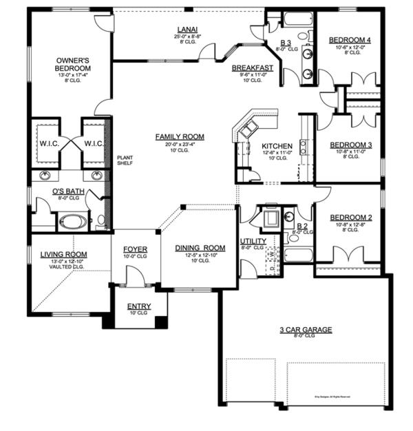Traditional Floor Plan - Main Floor Plan Plan #1058-48