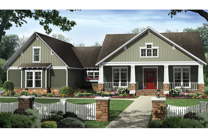 Architectural House Design - Craftsman Exterior - Front Elevation Plan #21-438