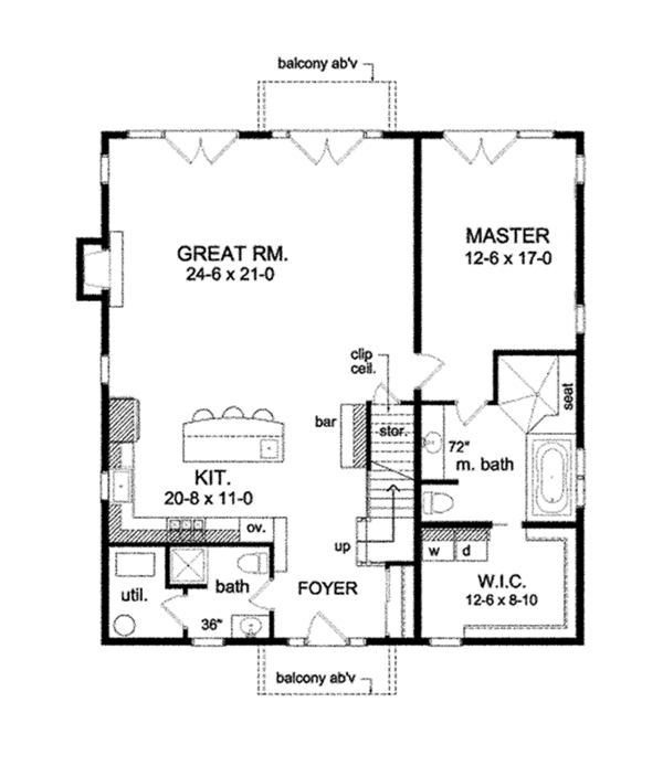 Country Floor Plan - Main Floor Plan Plan #1010-106