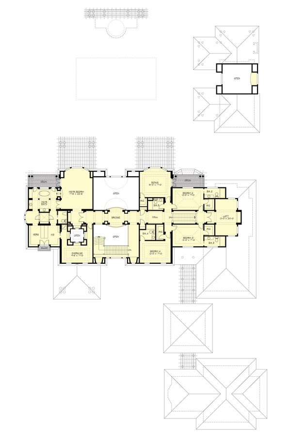 Traditional Floor Plan - Upper Floor Plan Plan #132-217