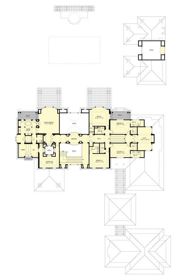 Traditional Floor Plan - Upper Floor Plan #132-217