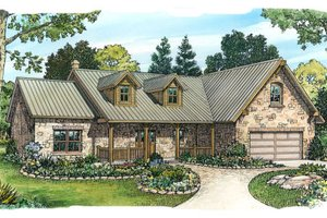 Ranch Exterior - Front Elevation Plan #140-103