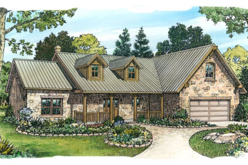 Ranch Style House Plan - 3 Beds 3 Baths 1840 Sq/Ft Plan #140-103 Exterior - Front Elevation