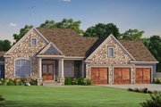 Ranch Style House Plan - 3 Beds 3.5 Baths 4683 Sq/Ft Plan #20-2284 Exterior - Front Elevation