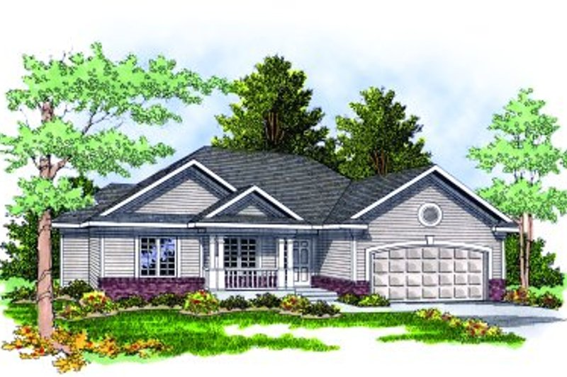 Traditional Style House Plan - 3 Beds 2 Baths 1461 Sq/Ft Plan #70-131 Exterior - Front Elevation