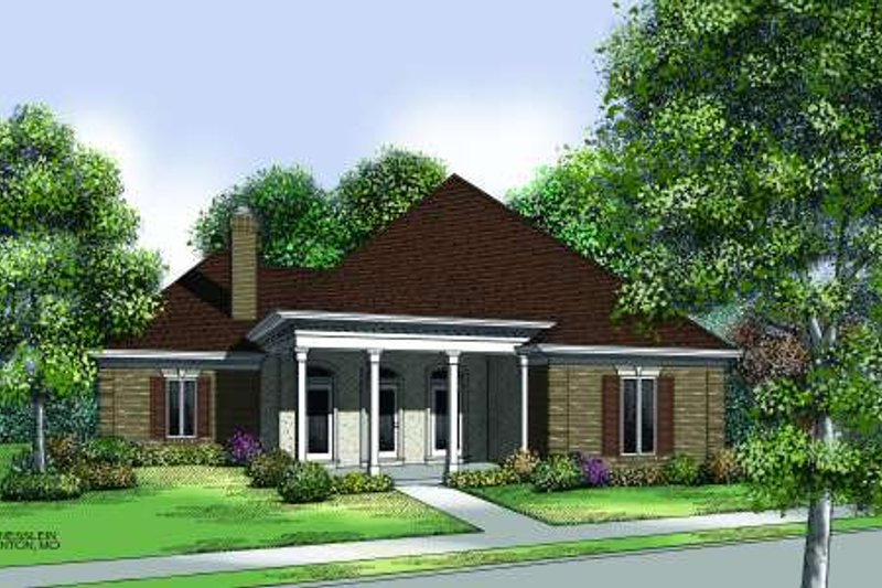 Traditional Style House Plan - 3 Beds 2 Baths 2000 Sq/Ft Plan #45-310 Exterior - Front Elevation