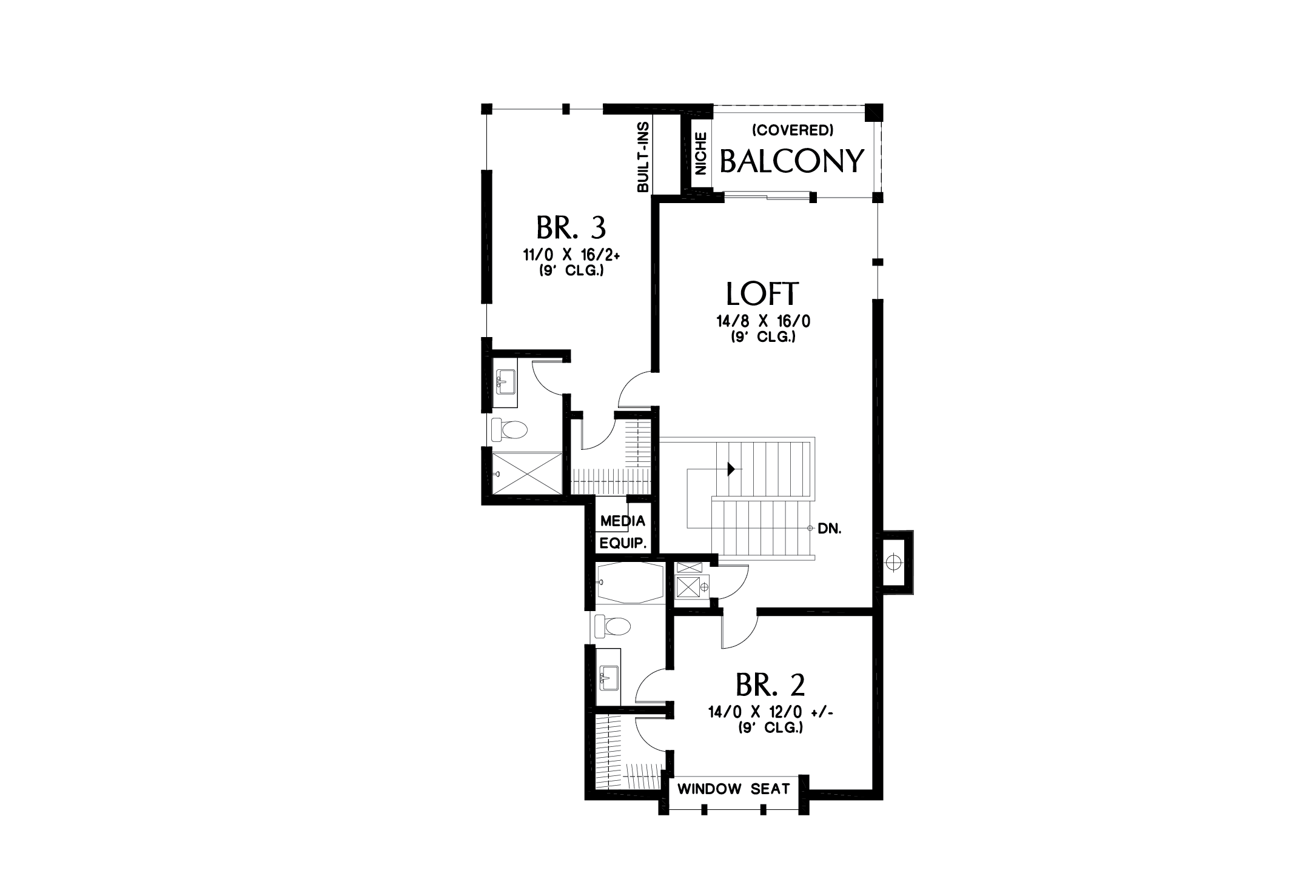 Contemporary Floor Plan - Upper Floor Plan Plan #48-1004