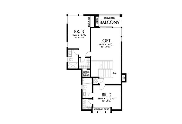 Contemporary Floor Plan - Upper Floor Plan #48-1004