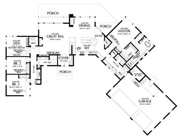 Dream House Plan - Contemporary Floor Plan - Main Floor Plan #48-1014