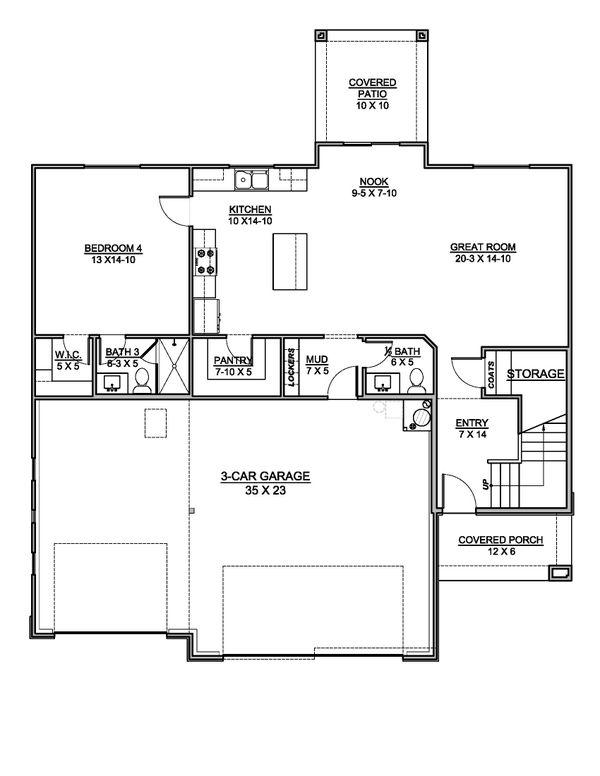 House Design - Southern Floor Plan - Main Floor Plan #1073-21