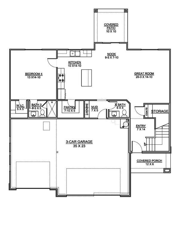 House Blueprint - Southern Floor Plan - Main Floor Plan #1073-21