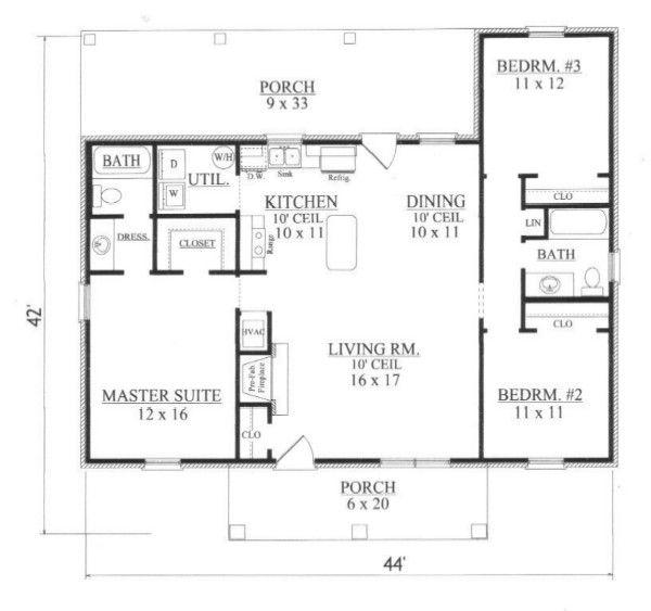 Colonial Floor Plan - Main Floor Plan Plan #14-249