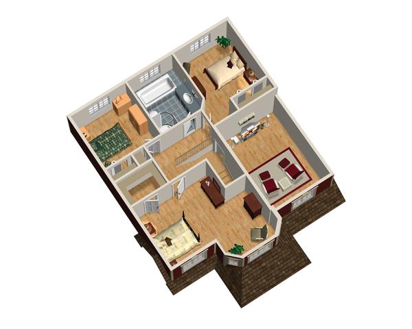 Traditional Floor Plan - Upper Floor Plan Plan #25-4697