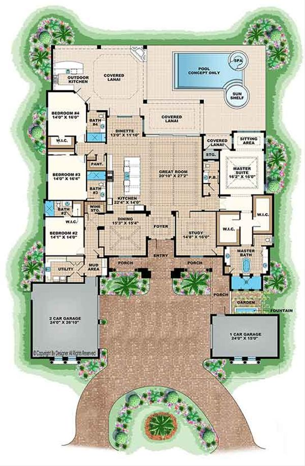Mediterranean Floor Plan - Main Floor Plan Plan #1017-166