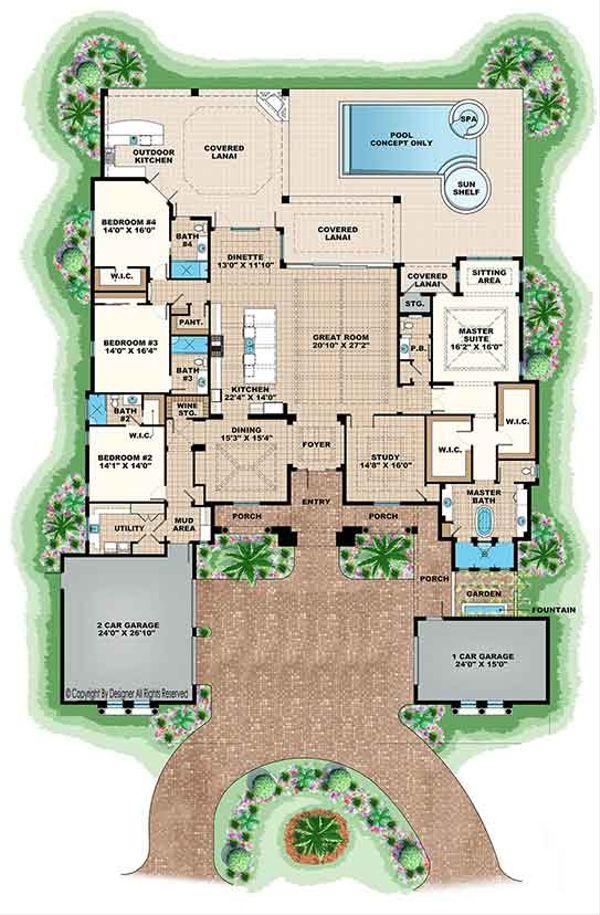 Architectural House Design - Mediterranean Floor Plan - Main Floor Plan #1017-166
