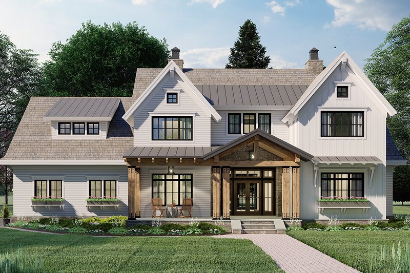 Dream House Plan - Farmhouse Exterior - Front Elevation Plan #51-1162