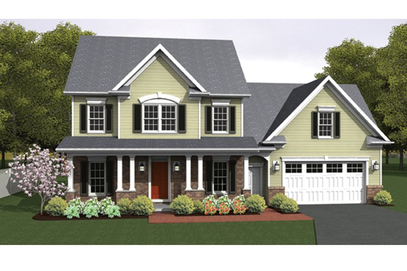 Colonial Exterior - Front Elevation Plan #1010-33 - Houseplans.com
