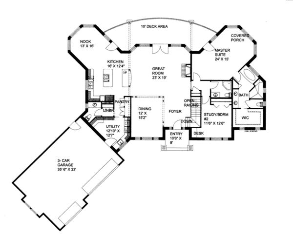 Ranch Floor Plan - Main Floor Plan Plan #117-861