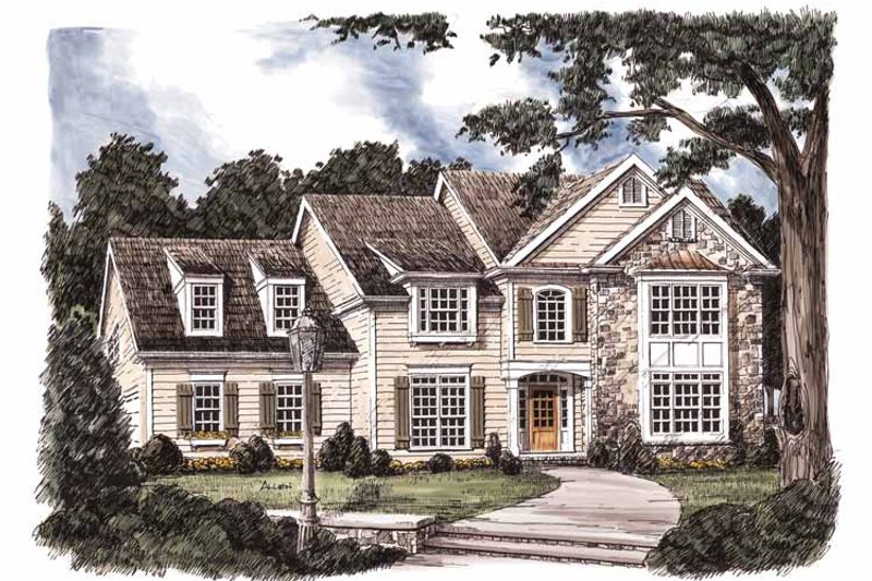 Colonial Exterior - Front Elevation Plan #927-818