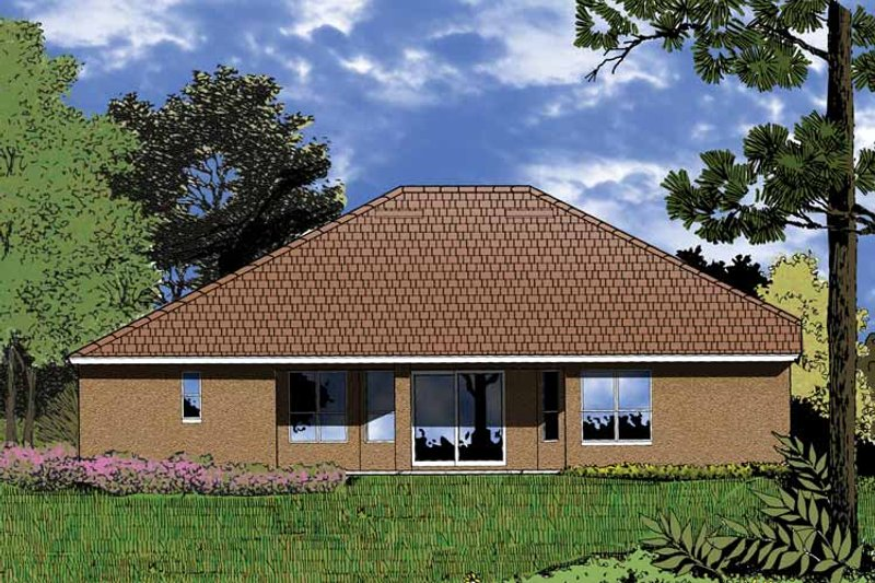 Mediterranean Exterior - Rear Elevation Plan #1015-2 - Houseplans.com