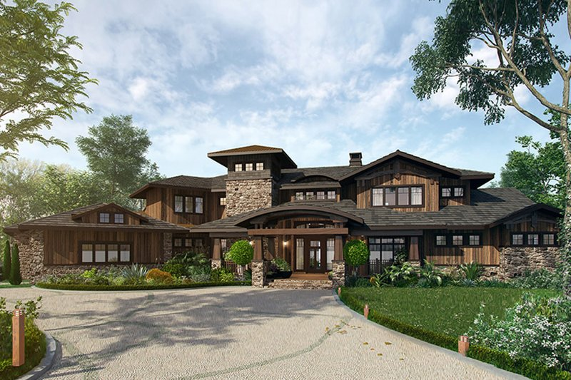 Prairie Style House Plan - 4 Beds 4.5 Baths 4520 Sq/Ft Plan #942-37 Exterior - Front Elevation